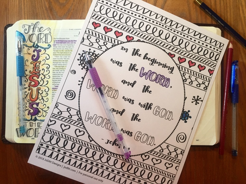 John 1 coloring page by JoDitt Designs