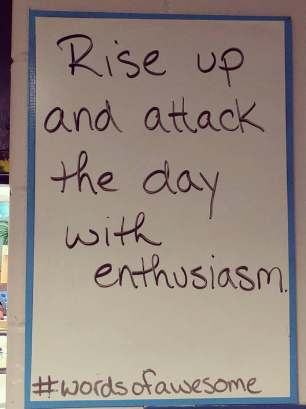 Marc Seigel has a whiteboard in his classroom on which he writes #wordsofawesome. These messages could easily be added to Google Classroom as well.