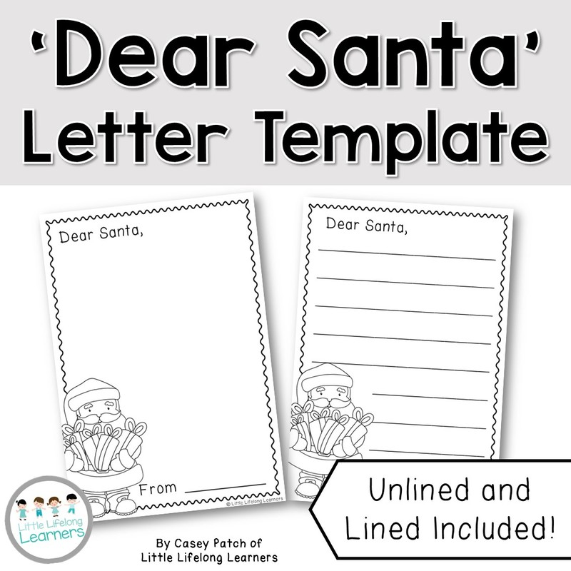 Free Santa Letter Writing Template  Little Lifelong Learners