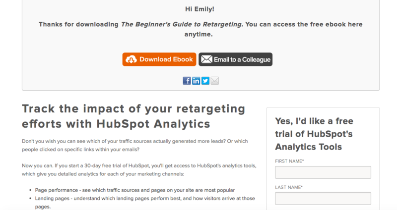 thank you page example hubspot travel agent marketing ideas