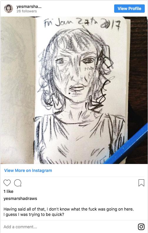 Instagram screenshot of Marsha drawing herself