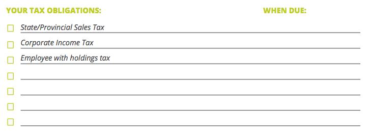 List of Tax Obligations
