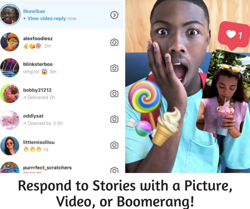 Respond to Stories With A Picture, Boomerang or Videos