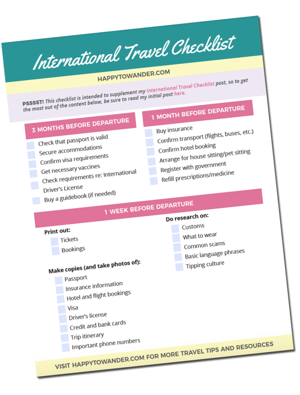 international travel checklist important things to do before
