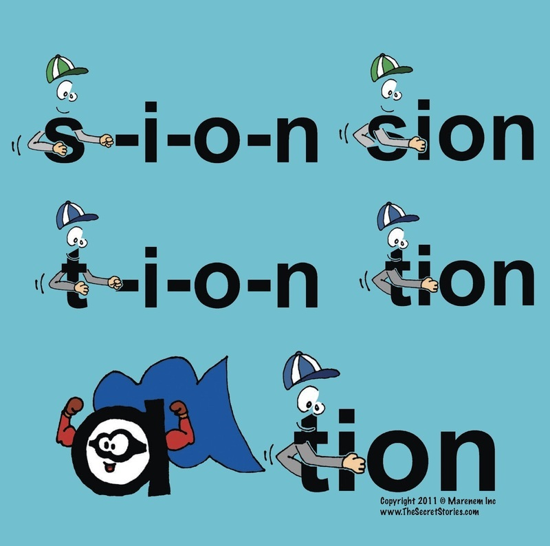 Secret Stories Phonics Poster for tion, sion, ation Secret