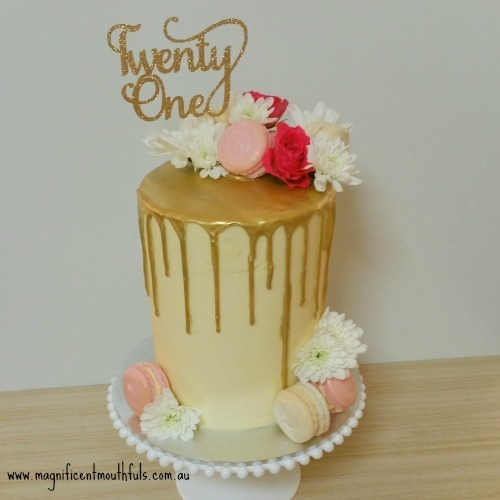 Golden Drip Cake | Which Is The Best Cake Height For Your Cakey Occassion? | But this post right here, is to explain to you a little about the heights of cakes you can get. Yes! There is more than just a slab cake and a tiered cake! | http://magnificentmouthfuls.com.au/2017/11/21/best-cake-height-for-you/