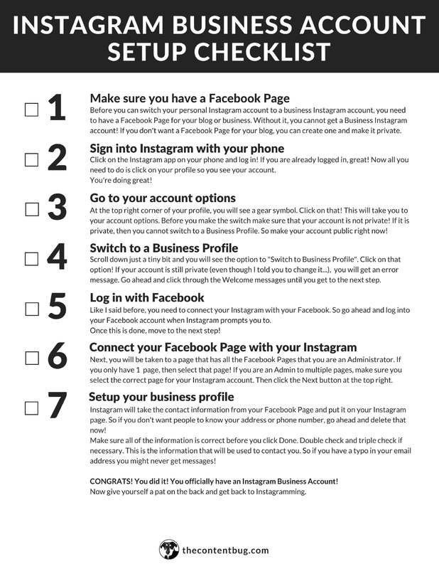 Enter Your Information To Get Your FREE Instagram Business Setup Checklist!  How To Make Business Profile