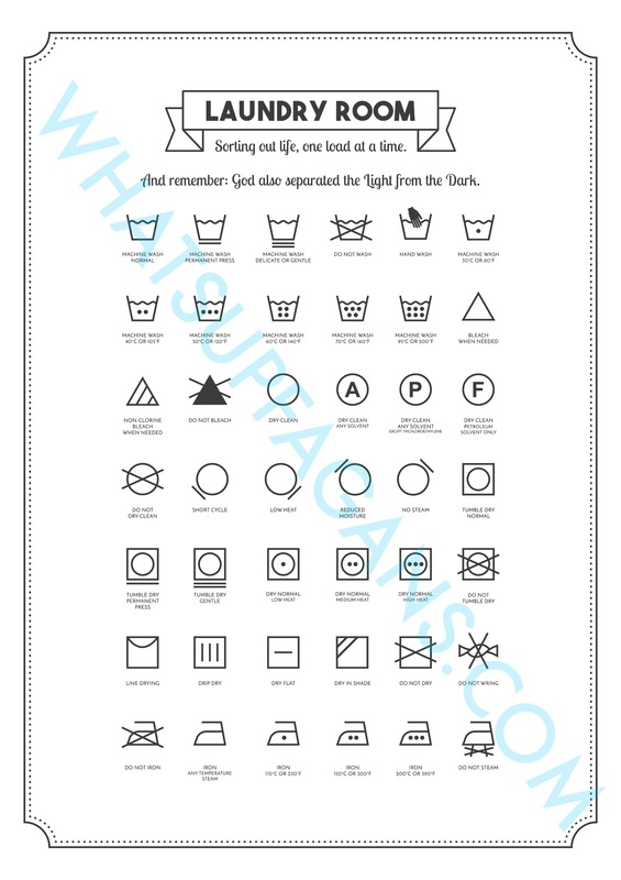 FREE Laundry Symbol Printable Gonna Put In My Room So I Can Care For
