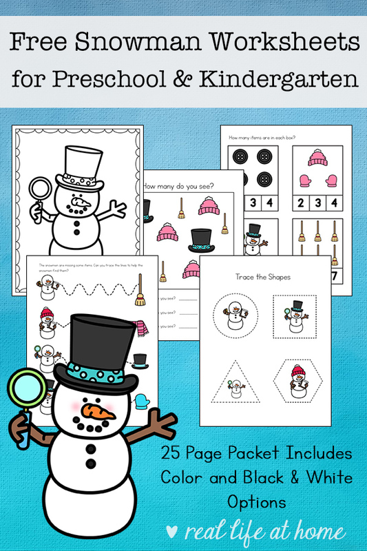 Free Snowman Worksheets for Preschool and Kindergarten Students