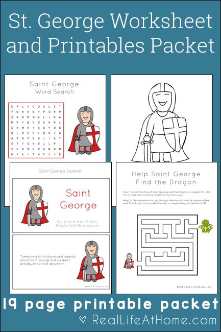 Saint George Worksheets and Printables Packet