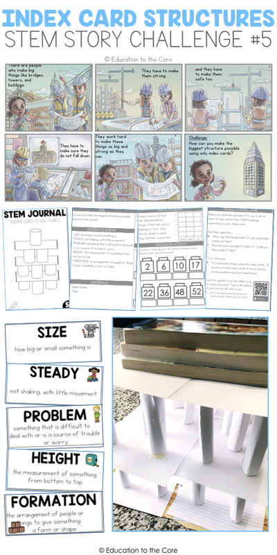 Index Card Structures Stem Story Challenge