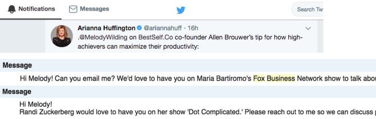 Screenshots of Ariana Huffington tweet, FOX TV invitation, and Randi Zuckerburg invitation