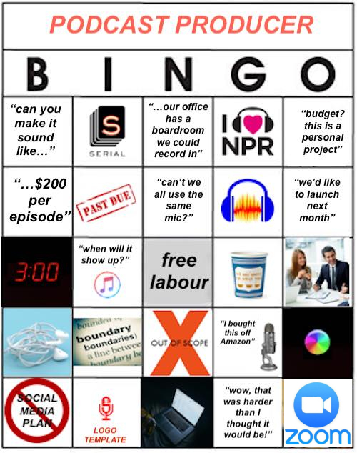 Podcast Producer Bingo