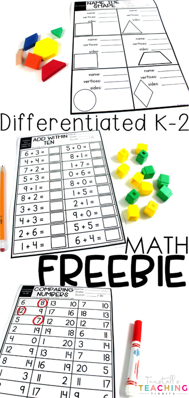 "FREE printable math practice pages! This math freebie is differentiated for Kinder, first, and second grade. These no prep, print and go worksheets include one more, one less, ten more, ten less, 2D & 3D shapes, comparing numbers to 20 and to 120, and addition within 10, 20, 100. To learn more about ""Math Freebie"", visit www.tunstallsteachingtidbits.com"