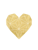 Geometric gold foil heart