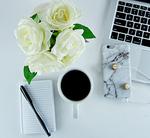 Desk flowers flatlay form