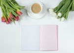 Coffee flowers notebook work desk 163123