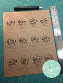 Bath salts labels on kraft
