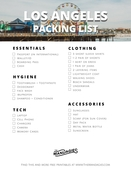 Los angeles packing list