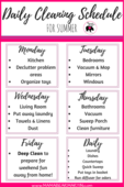 Printable version daily cleaning schedule for summer