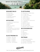 Tropical location packing list