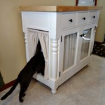 Diy butcher block kitty litter cabinet feature