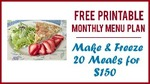 Free printable monthly menu plan 250x300