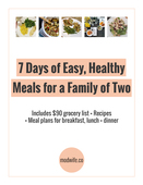 7 days of easy  healthy meals cover