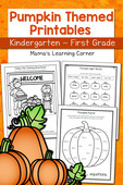 Pumpkin worksheets for kindergarten and 1st grade