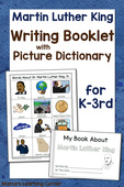 Martin luther king writing booklet with picture dictionary