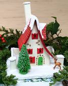 Red roof holiday miniature paper cottage with deer and tree