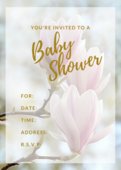 Baby shower invite pink floral