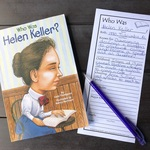 Square of helen keller and bookmark