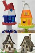 Candy corn irish cottage house pattern collage