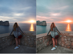 Before after mallorca sunset
