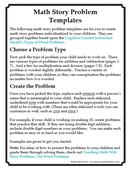 Math story problem templates picture